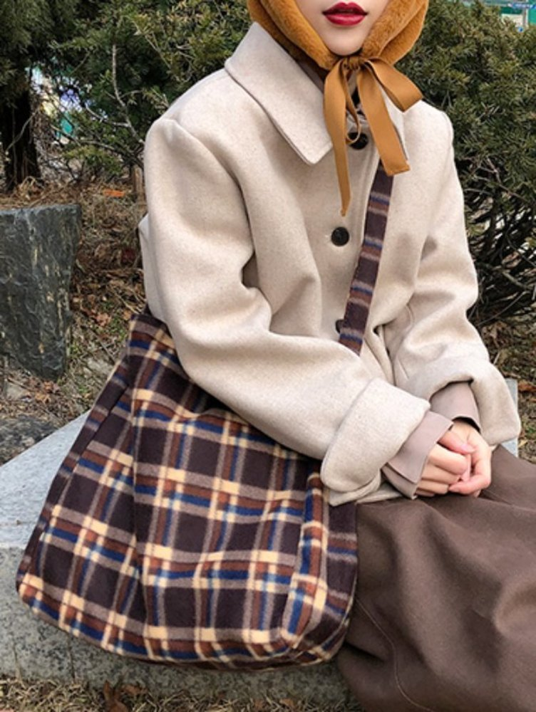 fleece check crossbag / 3color