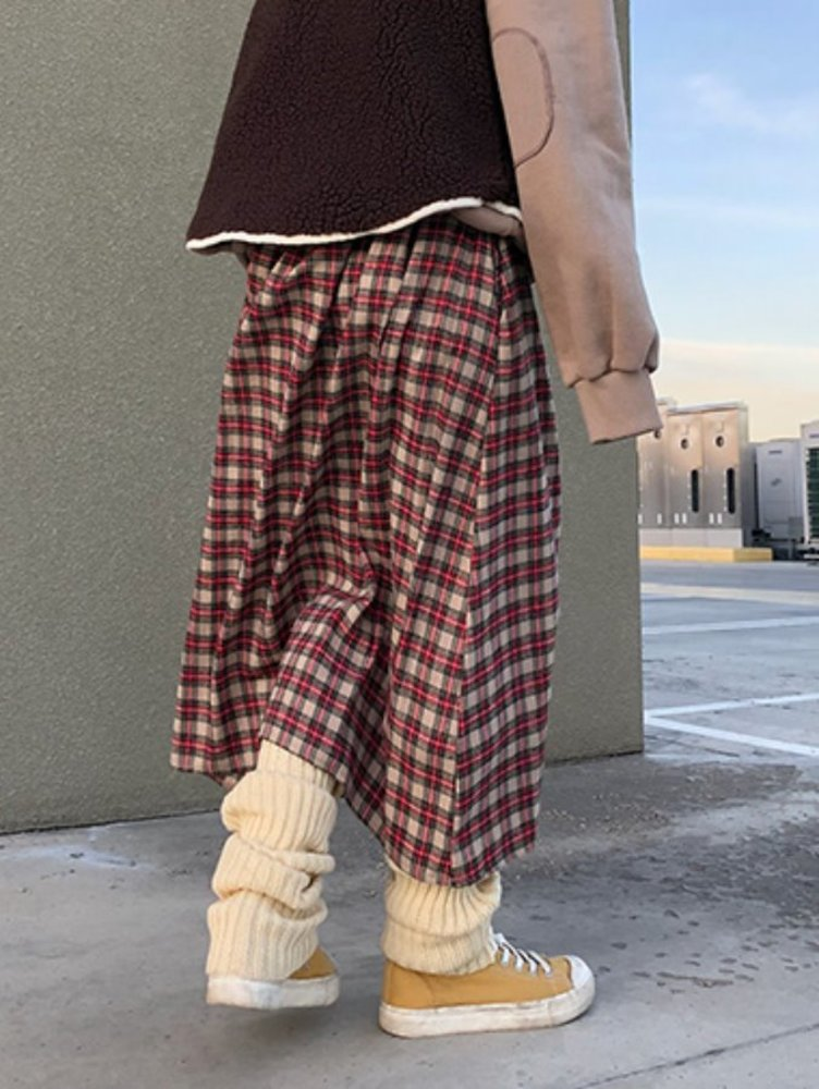 Christmas check skirt / 3color