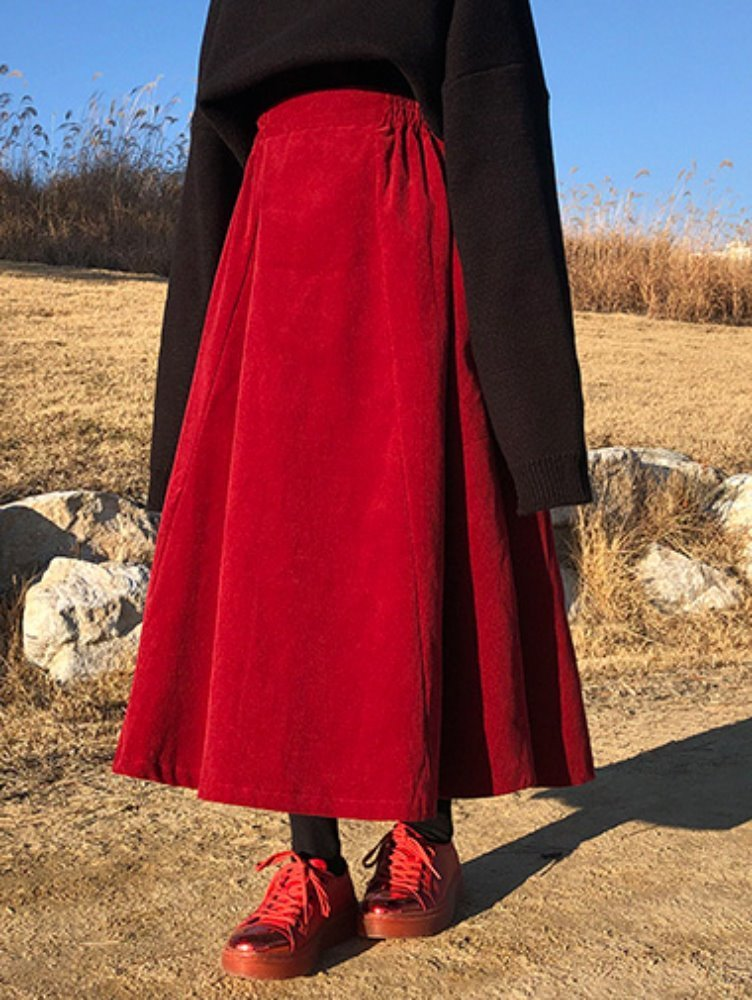 corduroy long skirt / 3color
