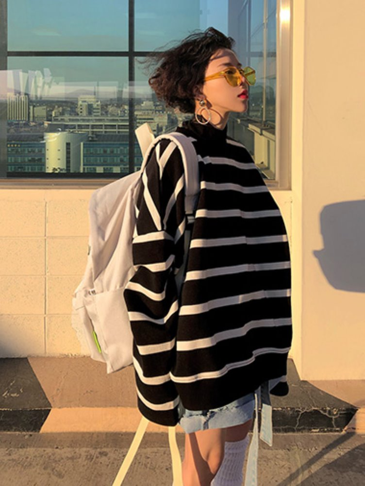 [unisex] stripe crop mtm / 2color