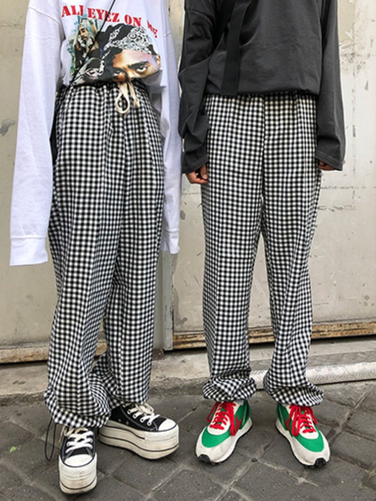 [unisex] gingham check string slacks