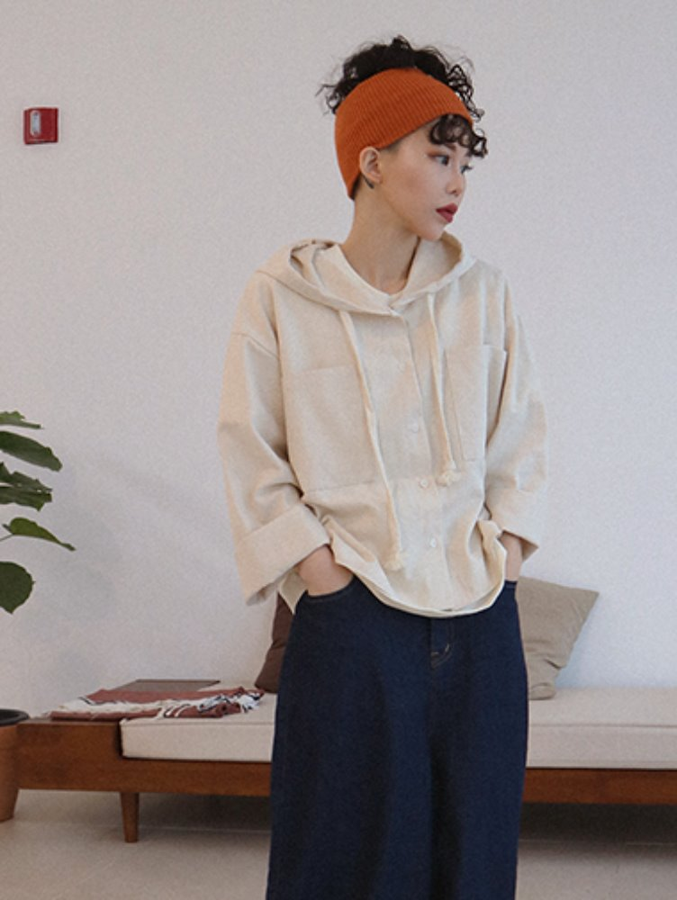 Hood pocket cardigan / 2color