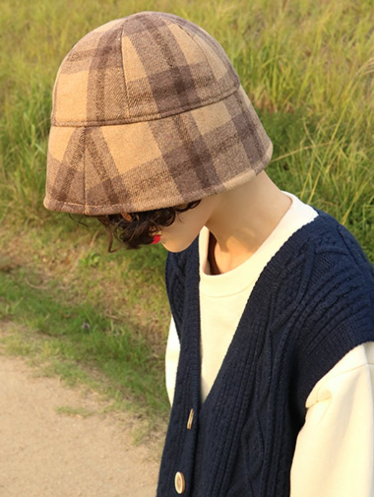 Woolen check down Bucket hat / 3color