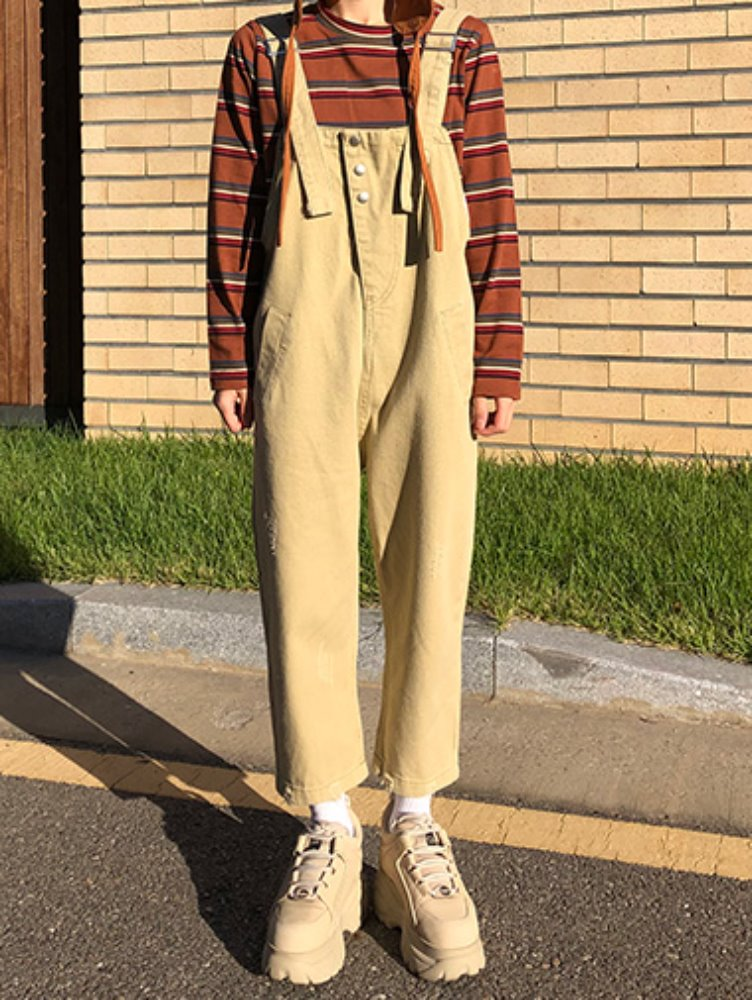 [한정수량] Damage beige overall pants
