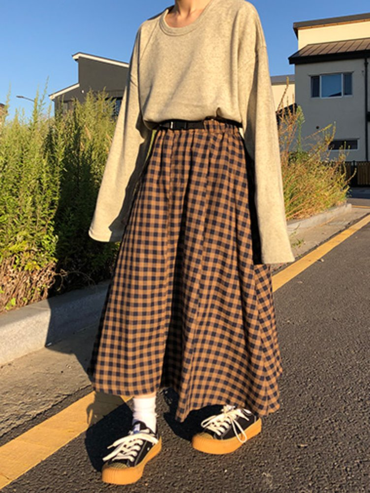 Check belt skirt / 3color