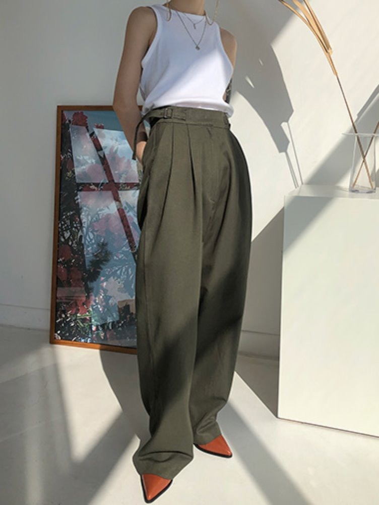 Spring buckle pintuck pants / 3color