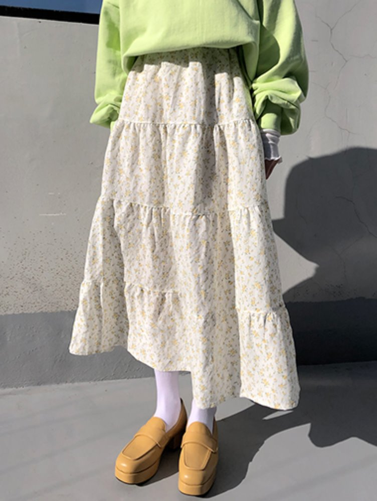 Flower can can skirt / 2color