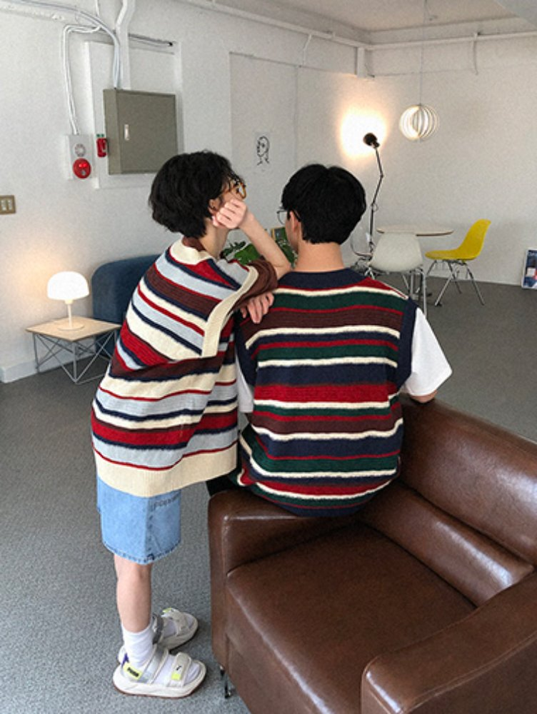 [unisex] Vintage stripe knit vest / 2color