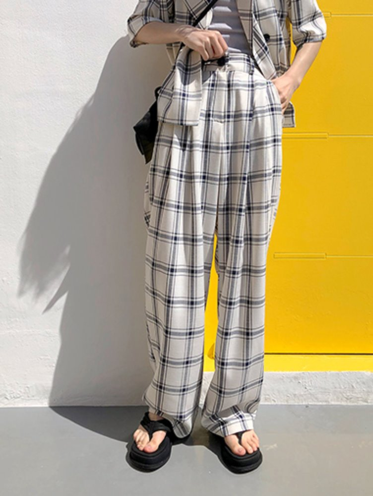 Linen check wide pants / 2color