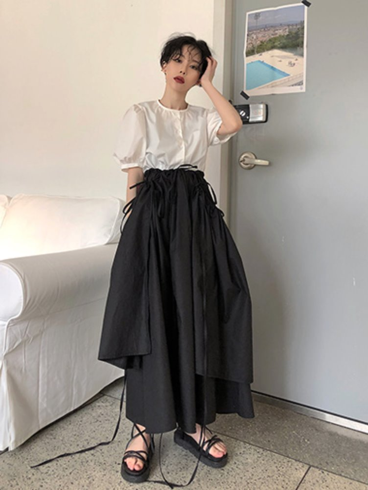 Pandoro layered long skirt / 2color