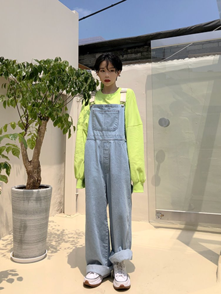 Denim wide overall pants