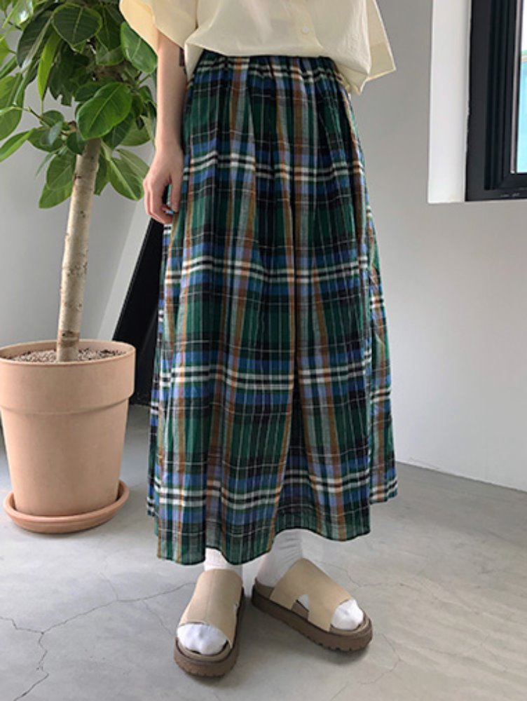 Multi check skirt / 2color