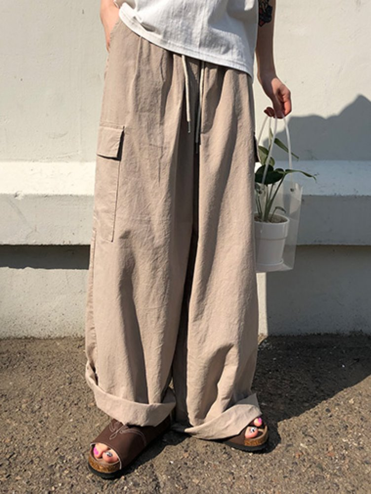 Cargo linen wide pants / 3color