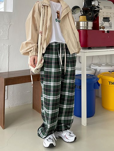 [unisex] Check string banding pants / 3color