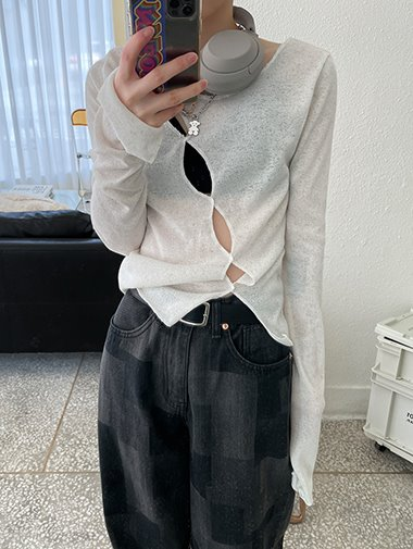 2way see-through slit T / 3color
