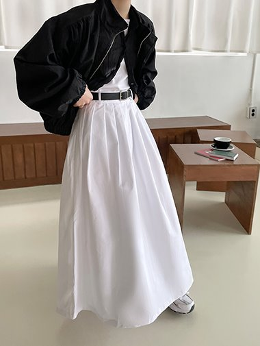 Cotton pintuck long skirt / 2color