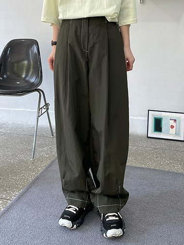 Stitch nylon wide pants / 2color