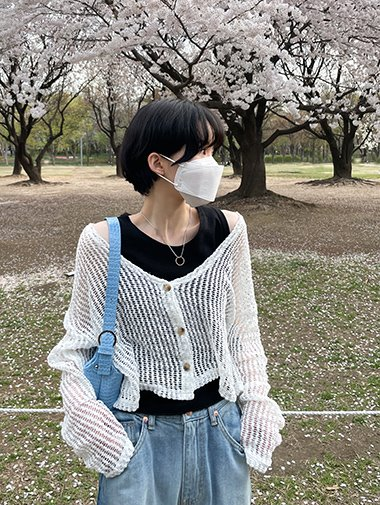 Net crop cardigan / 2color