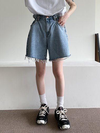 Banding wide denim shorts / 3color