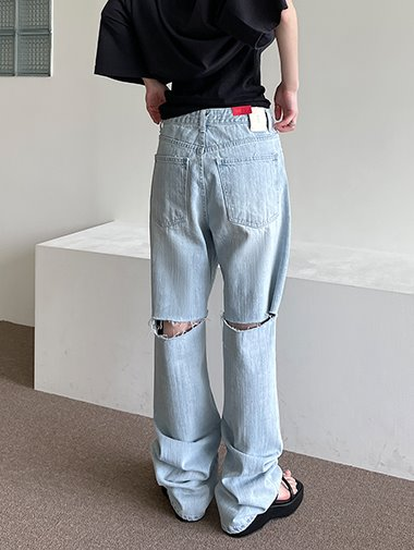Back cutting denim pants