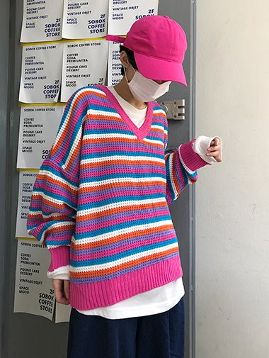 Multi stripe V neck knit / 4color