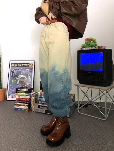 Dye denim wide pants / 2color