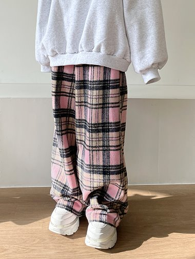 [unisex] Woolen check wide pants / 3color