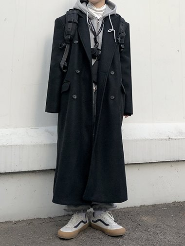 (울20%) Woolen double long coat / 2color