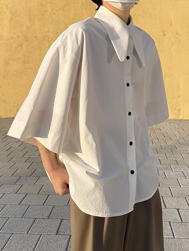Overfit big collar shirts / 2color